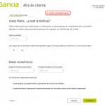 Formulario de registro con Bankia paso 3