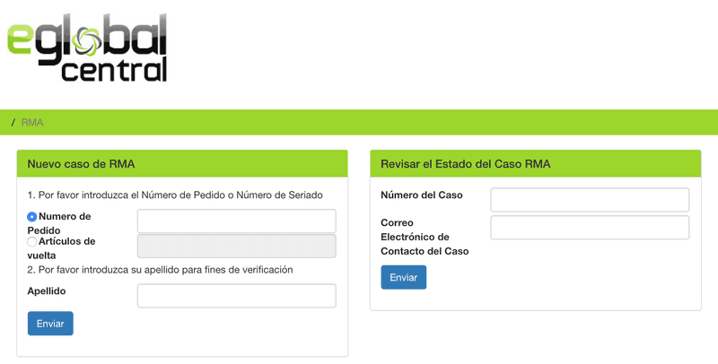 Sistema de ticket RMA de eGlobal Central