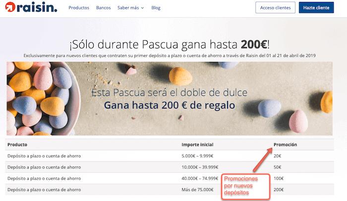 Raisin regala hasta 200 € a los nuevos clientes que abran un depósito
