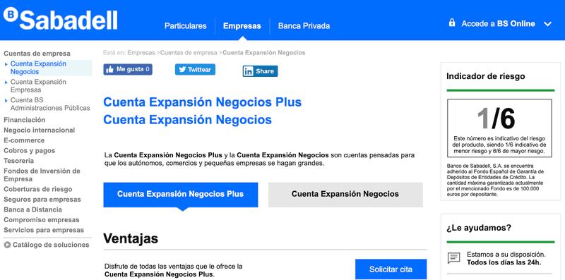 Cuenta Expansión Negocios Sabadell