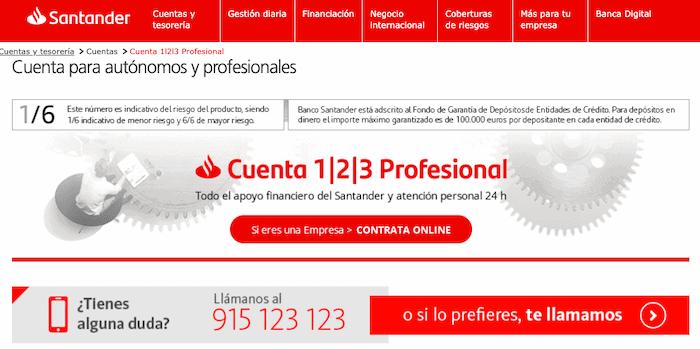 Cuenta Santander 1|2|3 Profesional