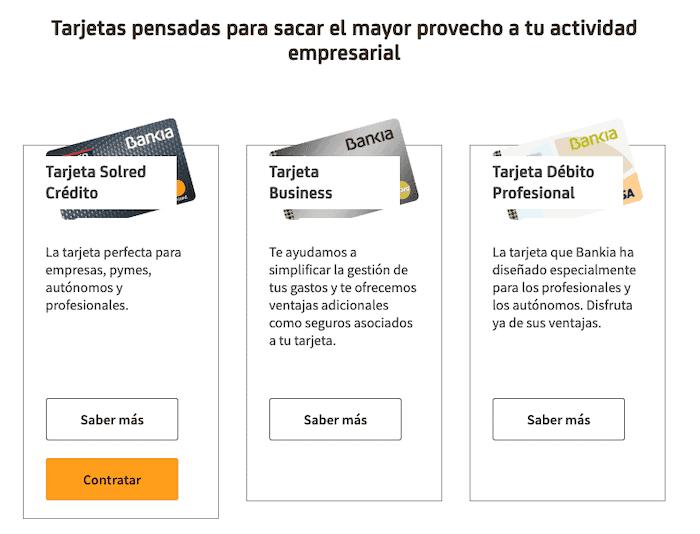 Tarjetas de Bankia para negocios