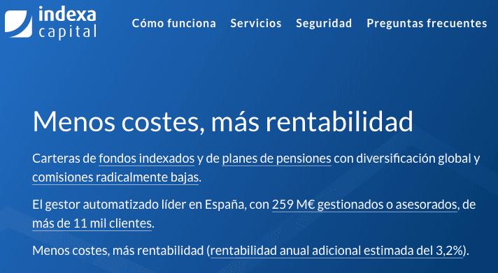 Indexa Capital promote más rentabilidad y menores comisiones