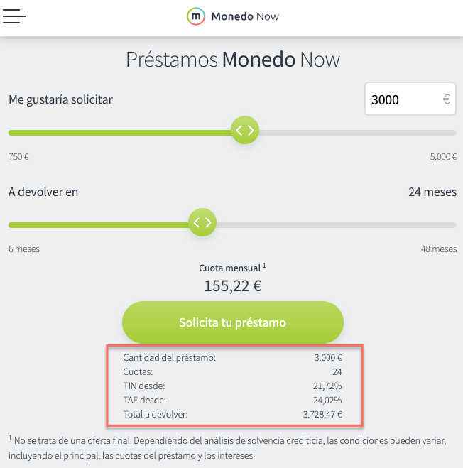 Simulación de interés con Monedo Now