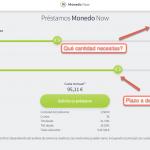 Solicitar un préstamo con Monedo Now paso 1