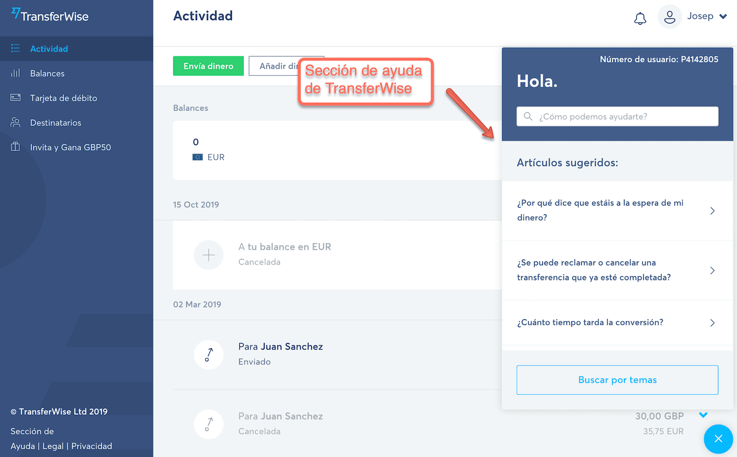 Sección de ayuda de TransferWise
