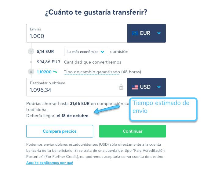 TransferWise tiempo de envío
