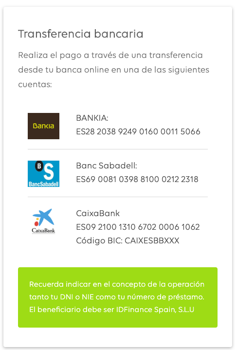 Bancos a los que transferir el dinero de tu prestamo de Moneyman
