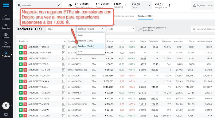 ETF gratuito mensual por operaciones superiores a los 1.000 €