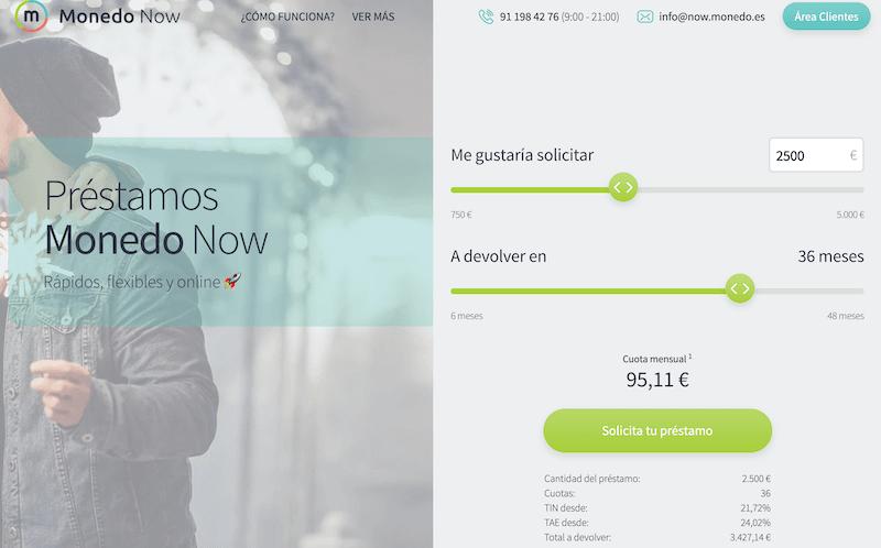 Monedo Now préstamo personal económico