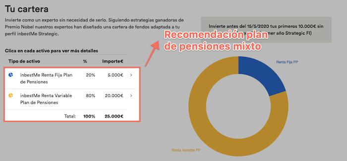 Ejemplo de sugerencia plan de pensiones inbestMe